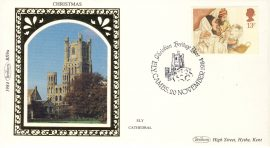 1984 BS9a Christmas ELY Cathedral Benham Sm Silk Stamp Cover refF569 Postmarked Christian Heritage Year ELY CAMBS 20 NOVEMBER 1984 Very good condition. Unsealed with insert card. Ideal for gift