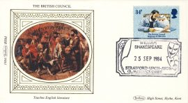1984 BS8d British Council teaches English Literature Benham Sm Silk Stamp Cover refF571 Postmarked William Shakespeare Stratford upon Avon Warwickshire 25 Sep 1984. Very good condition. Unsealed with insert card. Ideal for gift