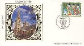1986 BS37 CHRISTMAS LTD EDITION Benham Sm Silk Stamp Cover refF572 Postmarked 18 Nov 1986 Bethlehem Dyfed. The Tanad Valley Plygain 18p stamp. Very good condition. Unsealed with insert card. Ideal for gift