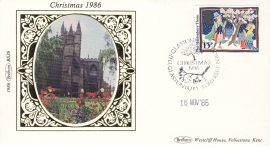 1986 BS36 CHRISTMAS Glastonbuy Thorn LTD EDITION Benham Sm Silk Stamp Cover refF573 Postmarked The Glastonbury Thorn Somerset 18 Nov 1986 Very good condition. Unsealed with insert card. Ideal for gift