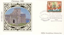 1986 BS38 CHRISTMAS Hebrides LTD EDITION Benham Sm Silk Stamp Cover refF574 Postmarked The Hebrides Tribute 22p Stamp