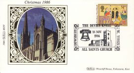 1986 BS39 CHRISTMAS All Saints Church Dewsbury LTD EDITION Benham Sm Silk Stamp Cover refF575 Postmarked The Dewsbury Church Knell 31p stamp DEVHS KNELLW.YORKS 18 Nov 1986 Very good condition. Unsealed with insert card. Ideal for gift