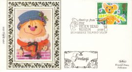 1989 BS6 HUMPTY DUMPTY Greetings LTD EDITION Benham Sm Silk Stamp Cover refF576 Postmarked The Teddy Bear Museum Ironbridge Telford Salop 31.1.89 19p Teddy Stamp. Very good condition. Unsealed with insert card. Ideal for gift