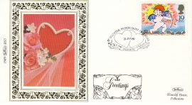 1989 BS5 ST VALENTINE Heart Roses LTD EDITION Benham Sm Silk Stamp Cover refF577 GREETINGS Postmarked Patron Saint of Lovers LOVER SALISBURY WILTS 31 Jan 89 Very good condition. Unsealed with insert card. Ideal for gift