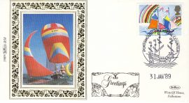 1989 BS8 Sailing Ships PORTSMOUTH LTD EDITION Benham Sm Silk Stamp Cover refF578 GREETINGS Postmarked 31 January 89 Very good condition. Unsealed with insert card. Ideal for gift