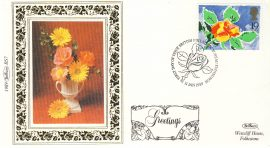 1989 BS7 Flowers ROSES LTD EDITION Benham Sm Silk Stamp Cover refF579 GREETINGS Postmarked First day of issue Edinburgh 31 January 1989 Very good condition. Unsealed with insert card. Ideal for gift