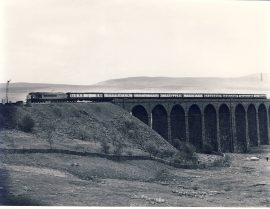 1982 Ribblehead Viaduct 45.063 ex Nottingham for Glasgow Train Photo refSC128 Measure approx 6.5 x 8.5 inches / 16cm x 21cm - an original 'W.A.Sharman' black and white photographic print pre-owned item in very good condition. Details on reverse.
