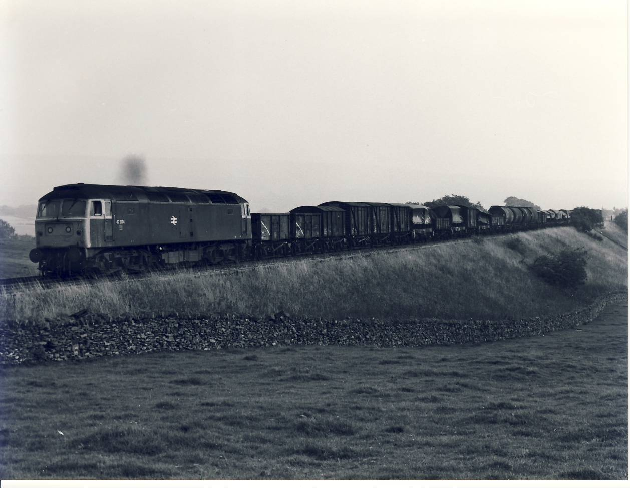 1981 Settle Carlisle Line Freight Train Photo refSC139 Measure approx 6.5 x 8.5 inches / 16cm x 21cm - black and white photographic print pre-owned item in very good condition.