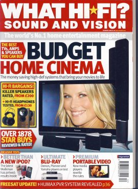 December 2008 What Hi Fi? Sound and vision magazine ref101721 a pre-owned item in very good condition.