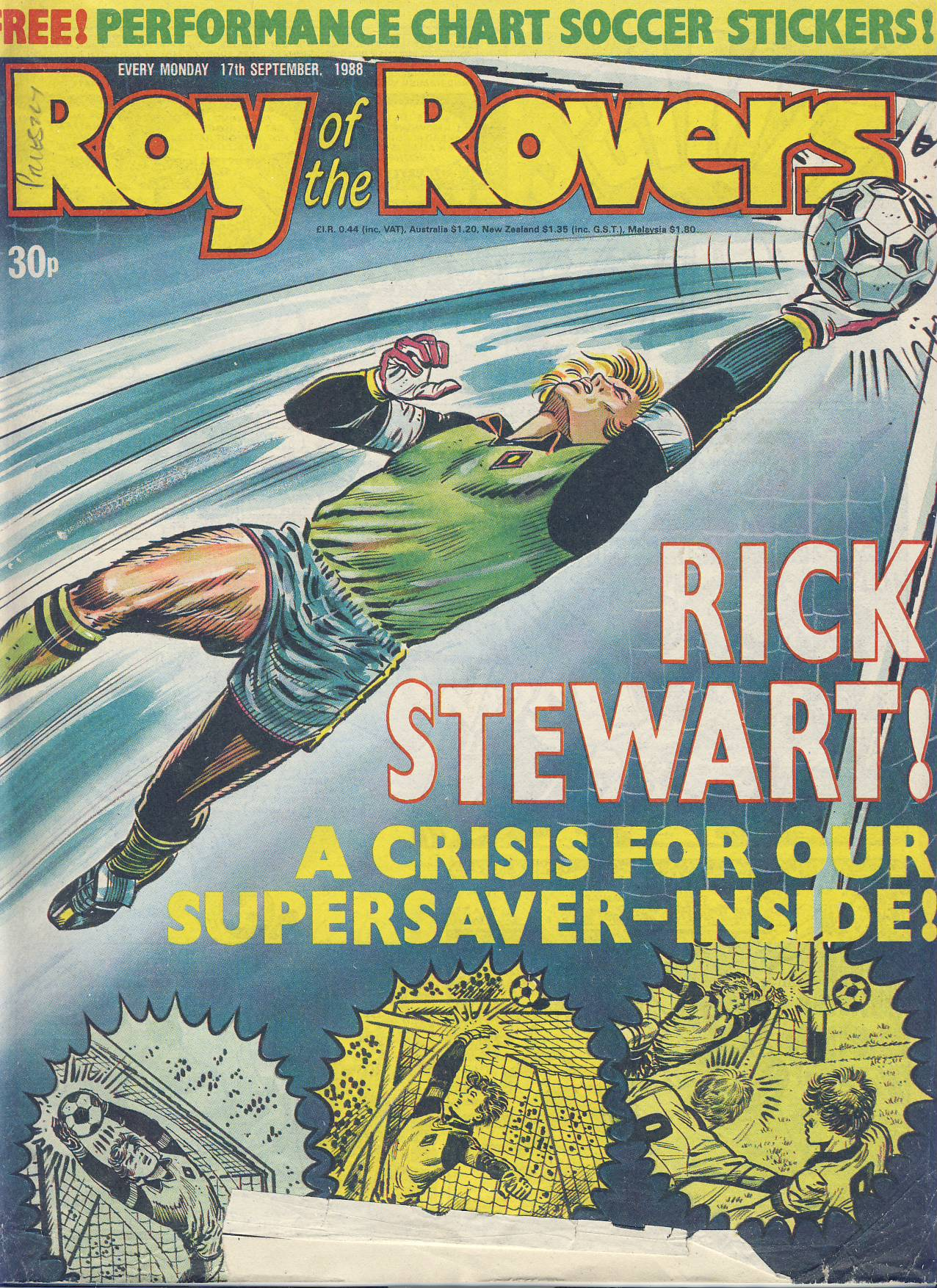 Roy of the Rovers 17th September 1988 vintage comic ref101732 a pre-owned item in well read condition.
