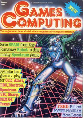 Games Computing vintage magazine January 1984 ref101736 with a  4 page special on Electronic Toys in the stores with info and prices. Oric