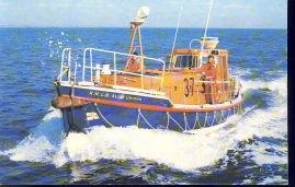 """R.N.L.B. ALICE UPJOHN lifeboat Old Postcard refP8 A Rother Class self-righting life-boat. Length 37' 6"""" Speed over 8 knots. Pre-owned used condition."""