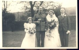 Vintage Wedding in uniform Old photo Postcard refP8 Pre-owned used condition.