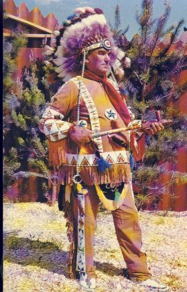 Born in 1885 South Portage la Prairie Native Indian wearing Traditional Costume. 'He was Chief for 16 years and it now (at the time of this photography) an Honarary Chief' Pre-owned unused condition.