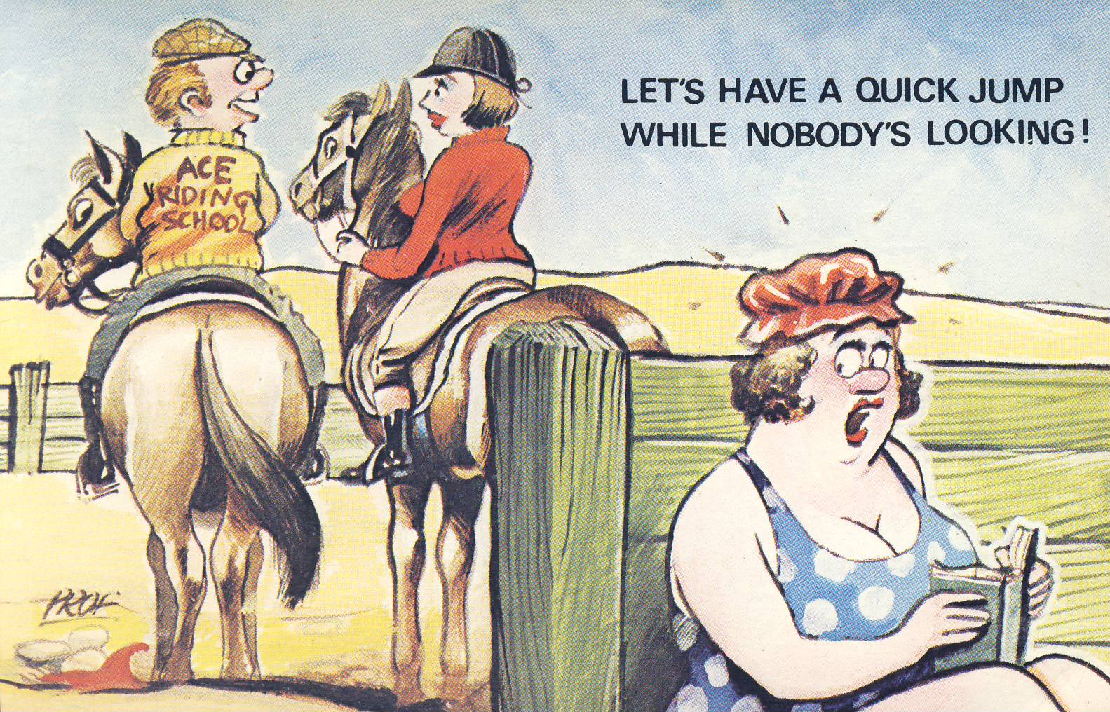 ACE Riding School Let's Have a Quick Jump While Nobody's Looking! Saucy Humour Old Postcard refP9 Cardtoon Series. Pre-owned unused condition.
