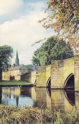Peak District national Park River Wye Bakewell Old Postcard refP9 Pre-owned used condition with name address and message on reverse. No stamp.