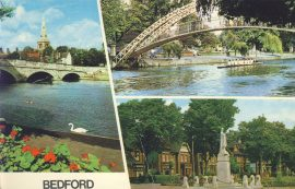 BEDFORD VIEWS Old Postcard refP9 The Bridges and War Memorial Embankment Gardens. Pre-owned used condition with name address and message on reverse. No stamp.