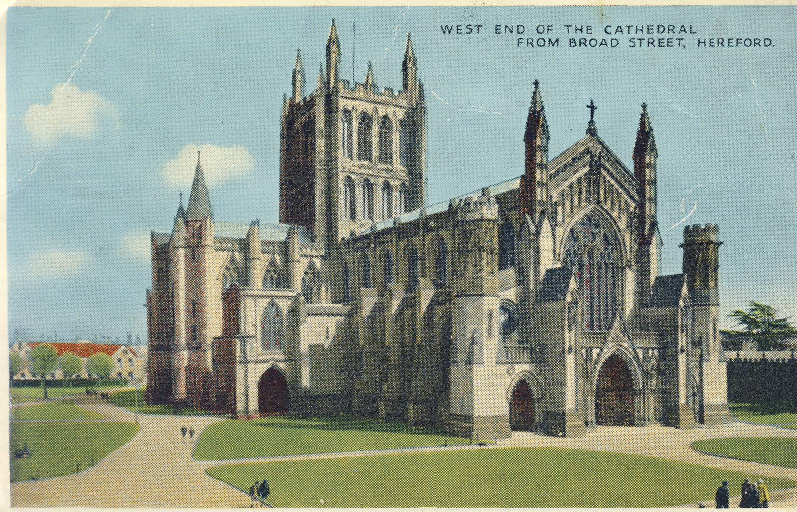 1959 HEREFORD Cathedral Old Postcard refP9 Pre-owned used condition with name address and message on reverse. CDS postmark with special Express Good Wishes by Greetings Telegrams oblong mark.