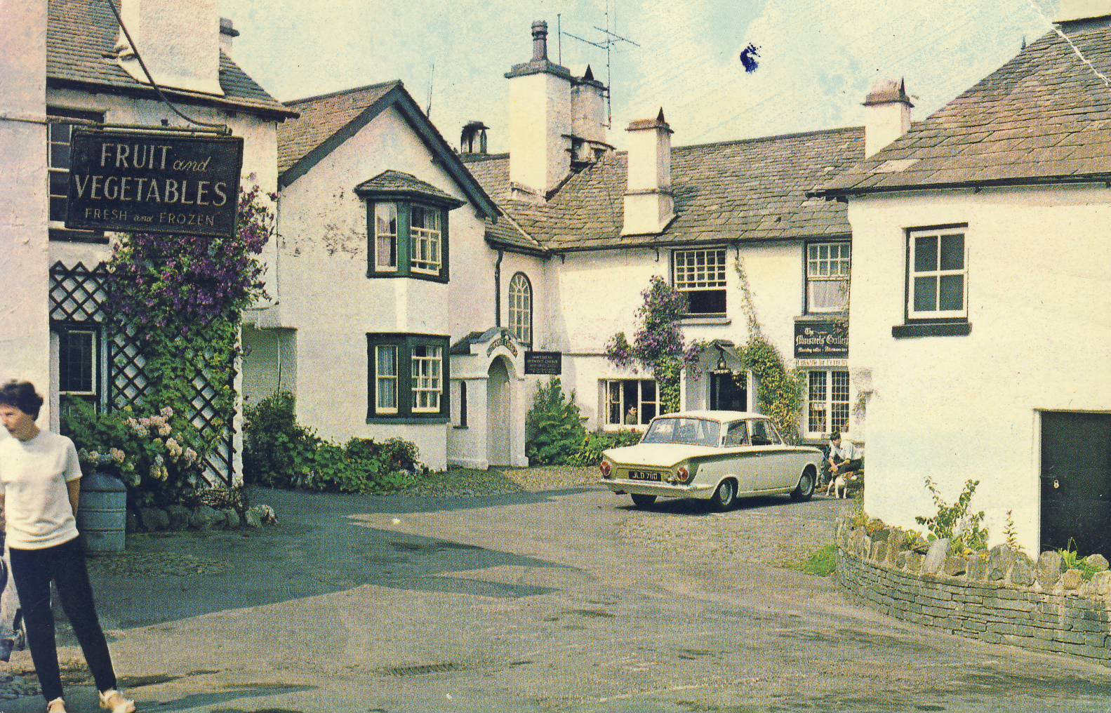 1971 The Square Hawkshead Old Postcard refP9 Pre-owned used condition with name address and message on reverse with stamp. Postmarked Visit Lakeland the roots of heaven