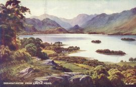 1956 Derwentwater from Castle Head Old Valentine's Postcard refP9 Pre-owned used condition with name address and message on reverse with stamp.