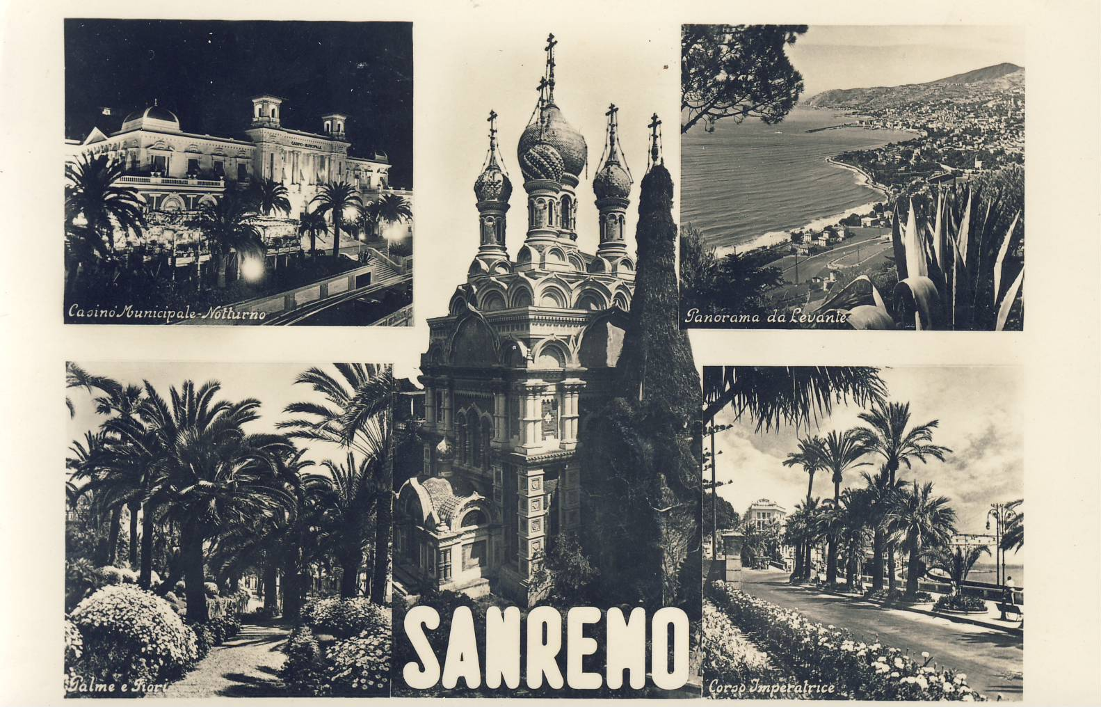 SAN REMO ITALY 1950s Old Postcard refP9 Pre-owned used condition with name address and message on reverse with Italian stamp.