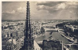 1950 PARIS En Flanant Vue Panaramique prise de Notre-Dame Old Postcard refP9 Pre-owned used condition with name address and message on reverse with stamps.