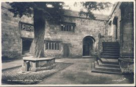 1964 SKIPTON CASTLE COURTYARD Old Real Photo Postcard refP9 Walter Scott .  Pre-owned used condition with name address and message on reverse with stamp with Scarborough Postmark