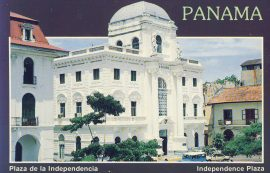 1992 PANAMA Independence Plaza Old Postcard refP9 Pre-owned used condition with name address and message on reverse with stamp.