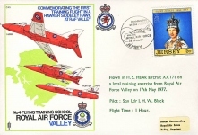 1977 Angelsey RAF VALLEY flying training school flown JERSEY stamp cover refF152