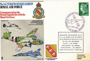1974 no342 French Squadron RAF flown stamp cover REIMS BFPO refF179