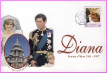 St Paul's Cathedral Royal Wedding Diana Princess of Wales 1998 stamp cover refDA3