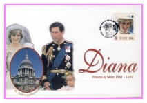 1998 St Pauls Cathedral Royal Wedding Diana Princess of Wales commemorative stamp cover refPitcairnIslands