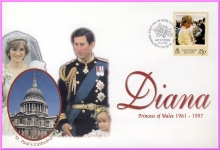 Charles & Diana Princess of Wales 1998 Ascension Island 35p stamp cover refDA24
