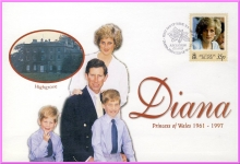 1998 First Day of Issue 35p Ascension Island Diana Princess of Wales stamp cover refDA23