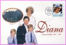 BARBADOS 18th May 1998 Diana Princess of Wales first day issue stamp cover refDA89