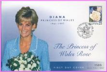 1998 Diana Princess of Wales Rose Mercury numbered FDC Isle of Man refDA121