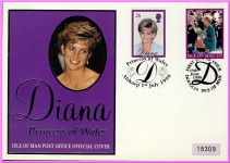 Princess Diana of Wales Isle of Man Official Cover 1998 numbered refDA122