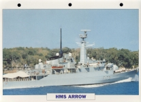 HMS ARROW 1974 guided missile frigate Navy Ship Photo Info Card refA2