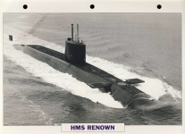 HMS RENOWN 1967 Ballistic missile submarine Navy Ship Photo Info Card refA4