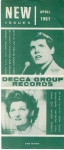 April 1961 New Issues DECCA GROUP RECORDS folded leaflet measures approx 21cm x 9cm ref101632