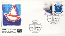 1983 Safety at Sea FDC Geneve Cachet UN United Nations stamp cover refF441
