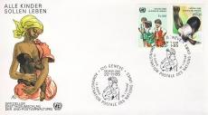 1985 Alle Kinder Sollen Leben Geneve UN United Nations stamp cover refF451