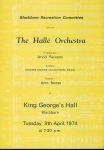 1974 Halle Orchestra BLACKBURN King George's Hall Theatre Programme refb1652