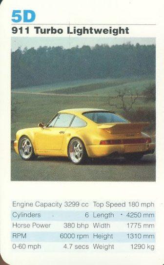 5D 911 Turbo Lightweight Porsche Cars Single Top Trumps Card