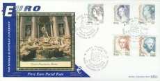 Italy Lire-EURO currency 1st postal stamps 1999 Trevi Fountain Rome Roma BENHAM silk cover refD122