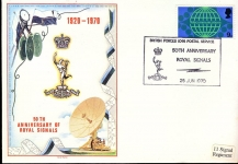 British Forces 1098 Postal Service 50th Anniversary Royal Signals 1970 special handstamped commemorative cover refD213