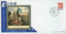 France Notre Dame Paris EURO currency 1st postal stamps 1999 BENHAM silk cover refD123