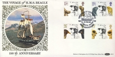 Charles Darwin Voyage of H.M.S. Beagle silk picture stamps cover PLYMOUTH postmark  BLS1 refD157