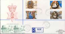 1992 Carrickfergus Castle Northern Ireland & Church Cathedral stamps cover Post Office R sticker Holywood Co.Down cds cancels refD177