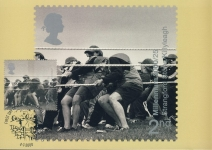 DARIO MITIDIERI Stangford Stone Killyleagh Postcard special first day of issue hand stamp postmark refE157